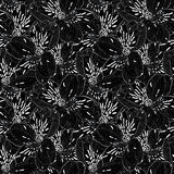 Beautiful black and white seamless pattern in alstroemeria. Royalty Free Stock Photo