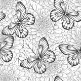 Beautiful black and white seamless pattern with flowers and butterflies Stock Photography