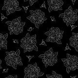 Beautiful black and white seamless pattern in roses. Royalty Free Stock Images