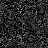 Beautiful black and white seamless pattern in roses. Stock Photo