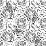Beautiful black and white seamless pattern in roses with contours. Royalty Free Stock Photo