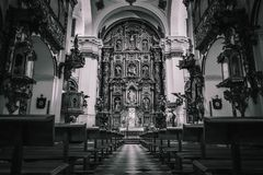 A monochrome view inside a church royalty free stock photo