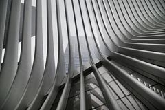 Beautiful black and white upshot of New York City Subway`s WTC Cortlandt station a.k.a. Oculus royalty free stock photography