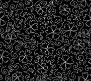 Beautiful black and white vector seamless pattern with figured cornflowers Royalty Free Stock Image