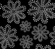 Beautiful black and white vector seamless pattern with ornamental figured flowers Royalty Free Stock Photography