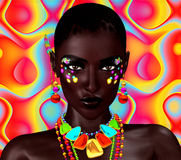 Beautiful Black Woman on Colorful Background. A Powerful Face of Art and Cosmetics royalty free illustration