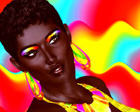 Beautiful Black Woman with colorful make up and a wavy Summer fun background Stock Photography