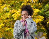 Beautiful black woman enjoying autumn Royalty Free Stock Photos