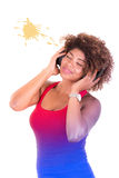 Beautiful black woman with a headphone Stock Photography
