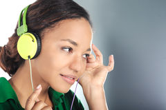 Beautiful black woman with headphones Stock Photo