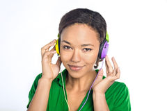 Beautiful black woman with headphones Stock Images