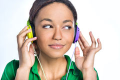 Beautiful black woman with headphones Stock Photos