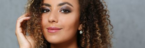 A beautiful black woman with a large face portrait Royalty Free Stock Images