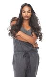 Beautiful black woman with long hair isolated on white Stock Photo