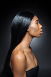 Beautiful black woman with long straight hair Royalty Free Stock Photos