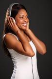Beautiful black woman music fan happy smile Stock Image