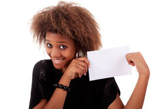 Beautiful black woman person with blank business c. Ard in hand, isolated on white background. Studio shot Stock Photography