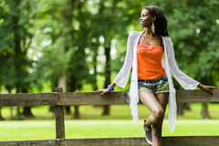 Beautiful black woman posing in nature Royalty Free Stock Image