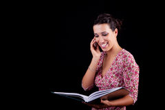 Beautiful black woman on the reading information Royalty Free Stock Images