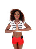 Beautiful black woman in red shorts. Stock Photos