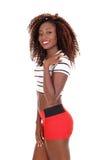 Beautiful black woman in shorts. Royalty Free Stock Image