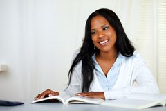 Beautiful black woman studying Royalty Free Stock Photo