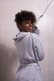 Beautiful black woman wearing  bathrobe Stock Photos