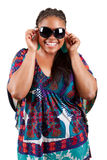 Beautiful black woman wearing sunglasses Stock Photo