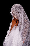 Beautiful black woman in a white veil Stock Photos