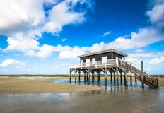 Beautiful house in the basin of Arcachon. Beautiful black wood house on stilts in the basin of Arcachon on the island with birds Royalty Free Stock Photography