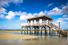 Beautiful house in the basin of Arcachon. Beautiful black wood house on stilts in the basin of Arcachon on the island with birds Royalty Free Stock Image