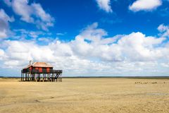 Beautiful house in the basin of Arcachon. Beautiful black wood house on stilts in the basin of Arcachon on the island with birds Stock Photo