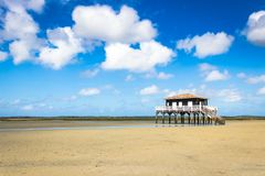 Beautiful house in the basin of Arcachon. Beautiful black wood house on stilts in the basin of Arcachon on the island with birds Royalty Free Stock Images
