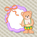 Beautiful blank frame with bear playing drum. Royalty Free Stock Images