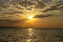 Free Beautiful Blazing Sunset Landscape At Caspian Sea And Orange Sky Above It With Awesome Sun Golden Reflection On Calm Waves As A Ba Royalty Free Stock Photo - 86527955
