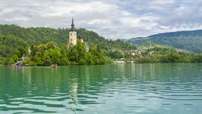 The beautiful Bled Lake. The beautiful  Bled Lake is the most famous lake in Slovenia. It is located in the south of the Alps in the northwest of Slovenia. The stock image
