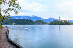 Beautiful Bled lake next to pier Royalty Free Stock Image