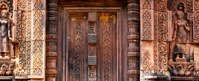 Free Beautiful Blind Stone Door At Banteay Srei Stock Image - 60938321