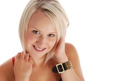 Beautiful Blond. Casual beautiful blond, copyspace on the right Stock Photos