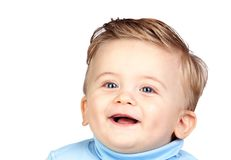 Beautiful blond baby with blue eyes Royalty Free Stock Images