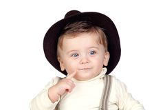 Beautiful blond baby with hat Stock Photo