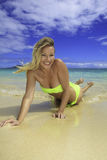 Beautiful blond in bikini on beach Stock Photography