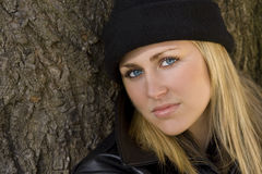 Beautiful Blond In Black Stock Photography