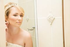 Beautiful blond bride Stock Image