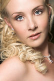 Beautiful Blond Bride. Wearing diamond jewelery stock images