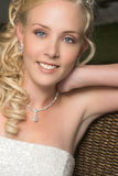 Beautiful Blond Bride. Wearing diamond jewelery royalty free stock photos