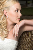 Beautiful Blond Bride. Wearing diamond jewelery stock image