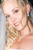 Beautiful Blond Bride. Wearing diamond jewelery stock photography