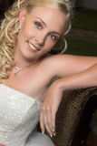 Beautiful Blond Bride. Wearing diamond jewelery royalty free stock image