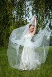 Beautiful blond bride in fashionable wedding dress Stock Image